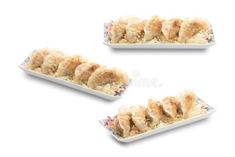 Gyoza, Fried Dumpling aisló en blanco con la trayectoria de recortes foto de archivo libre de regalías
