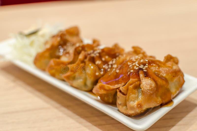 Gyoza japan Fried Dumplings arkivbild
