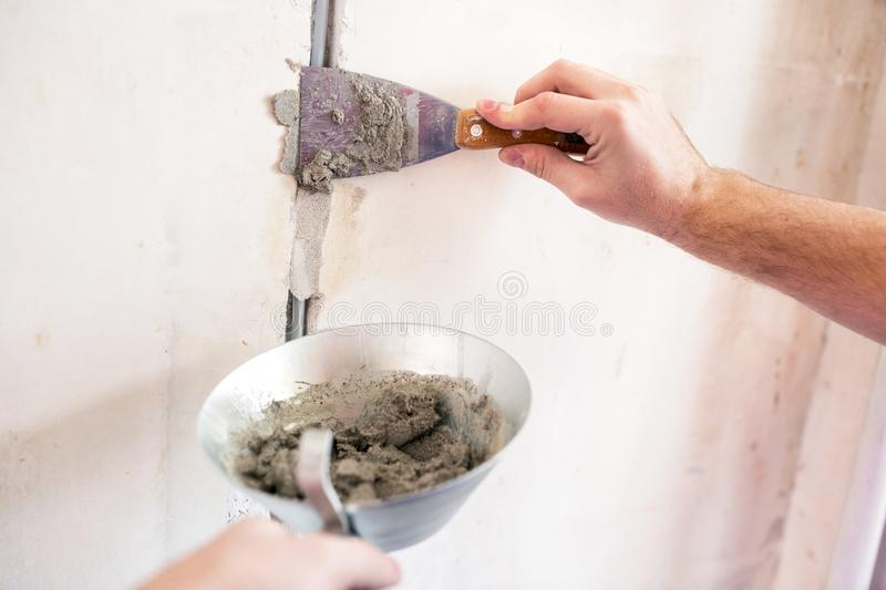 Gypsum cement electric installation finishing touches royalty free stock photos