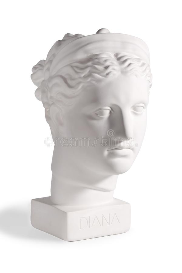 Gypsum head of the ancient Greek goddess Diana stock photo