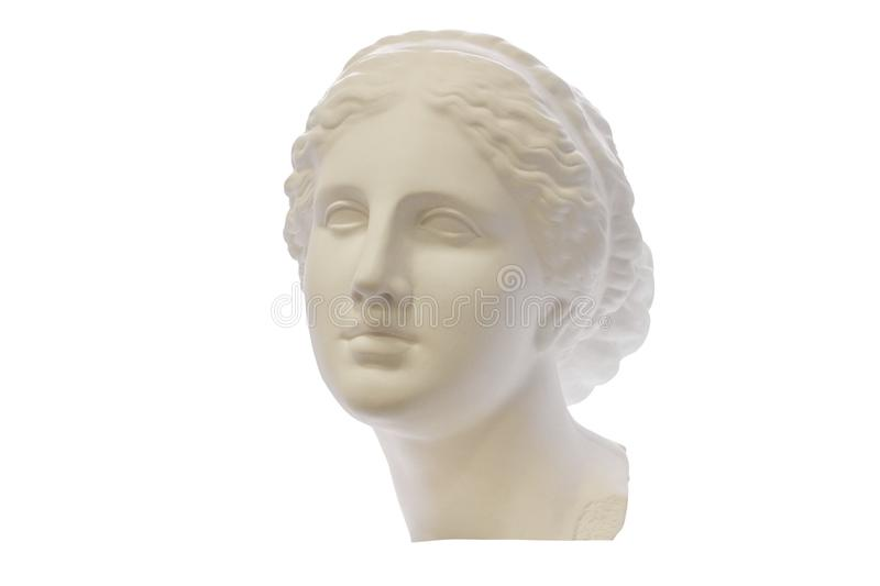 Gypsum head of ancient Greek young woman isolated on white background. For learning drawing. Gypsum head of ancient Greek young woman isolated on white stock photo