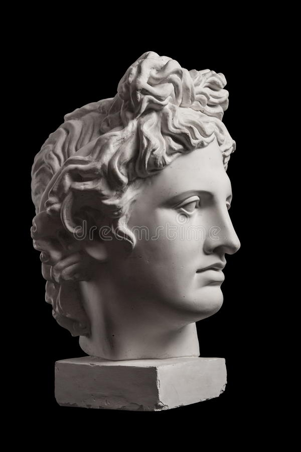 Gypsum statue of Apollo`s head. Facial profile royalty free stock image