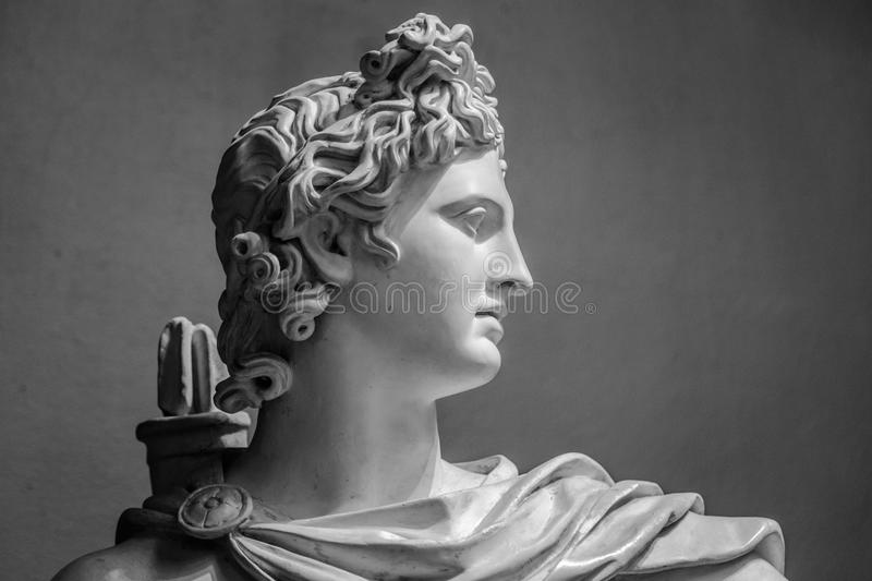 Gypsum statue of Apollo`s head stock images