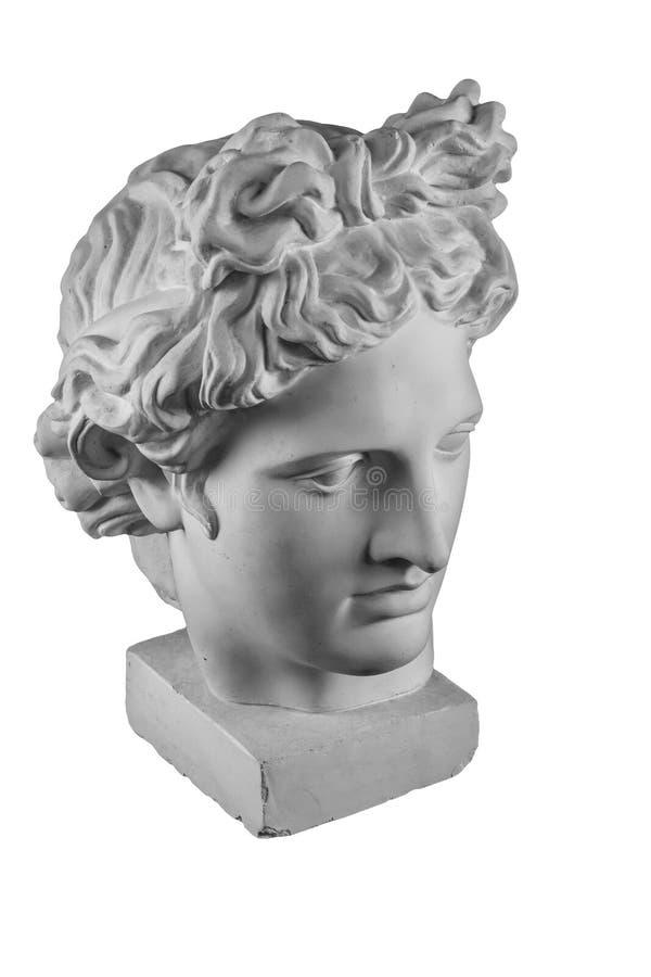 Gypsum statue of Apollo`s head royalty free stock photos