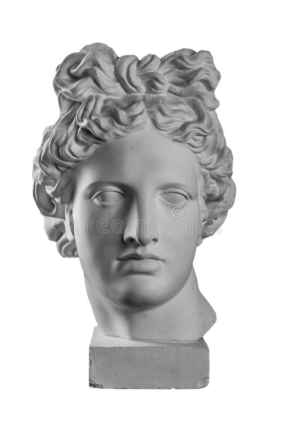 Gypsum statue of Apollo`s head. Isolated royalty free stock images
