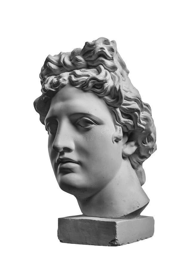 Gypsum statue of Apollo`s head. Gypsum white plaster statue of Apollo`s head stock photo