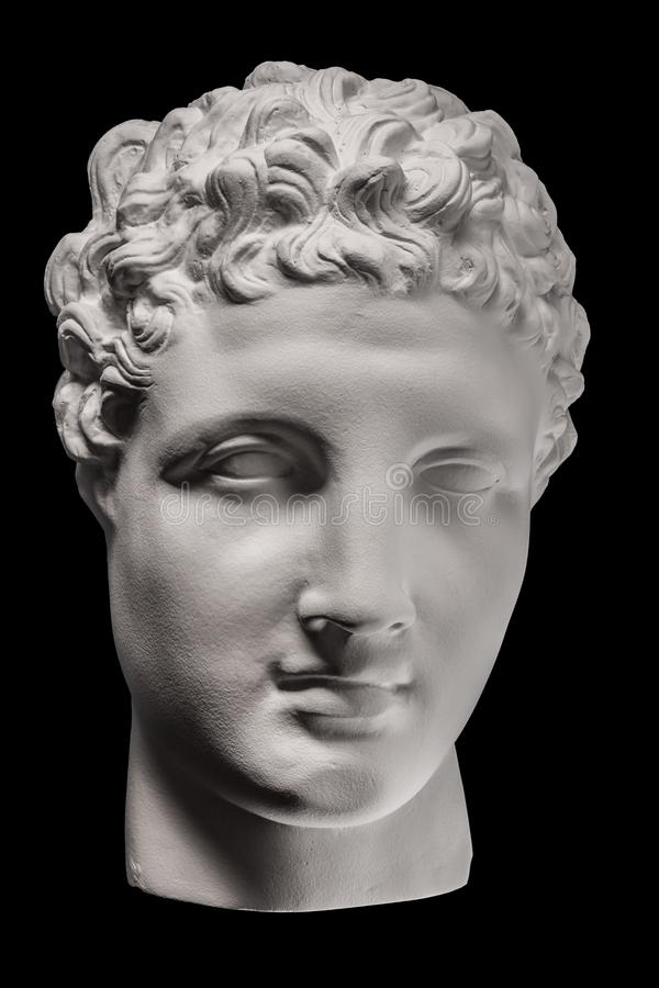 Gypsum statue face of Apollo. Gypsum statue of Apollo`s head, plaster face, sculpture, mask, facial profile royalty free stock photography
