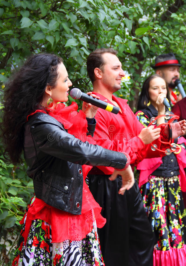 Gypsy Band Performing. In Russia there is a tradition - on the occasion of the anniversary celebration or wedding invite a Gypsies band who entertained guests
