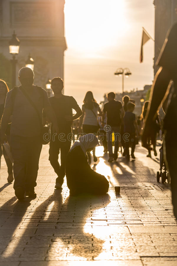 Gypsy beggar Paris stock photography