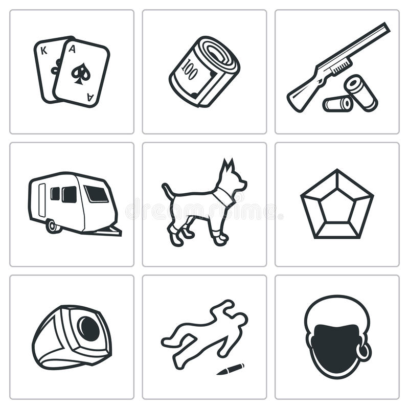 Gypsy camp icons. Vector Illustration. stock illustration
