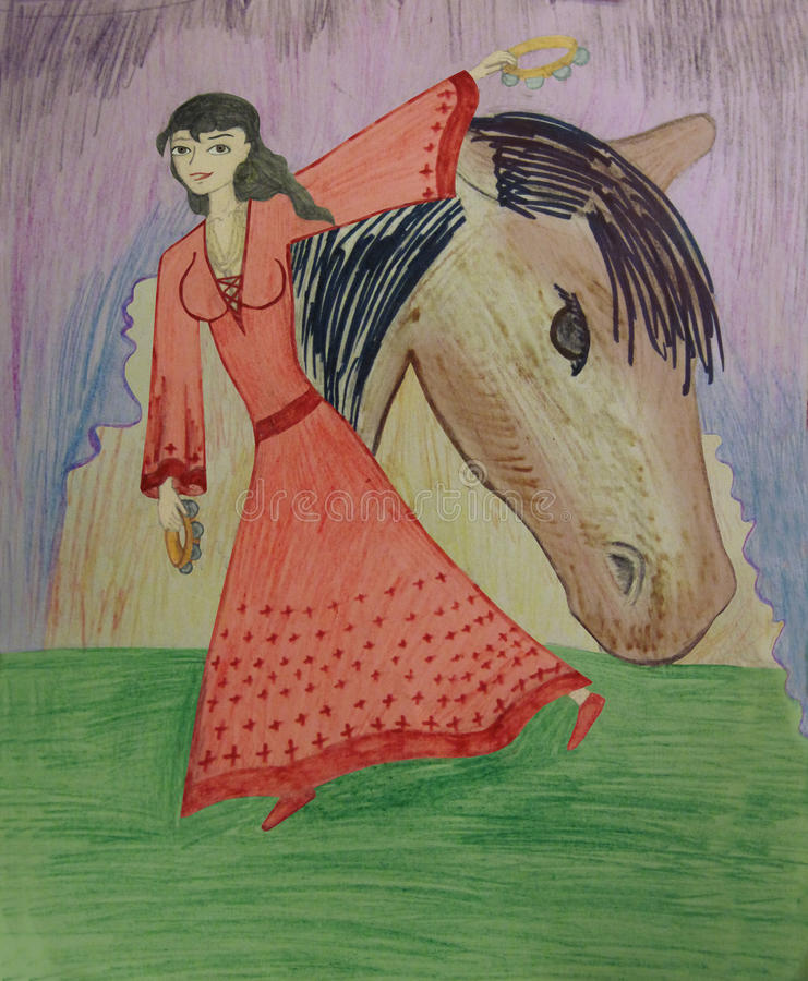 A Gypsy dance with tambourines. Children's artwork royalty free illustration
