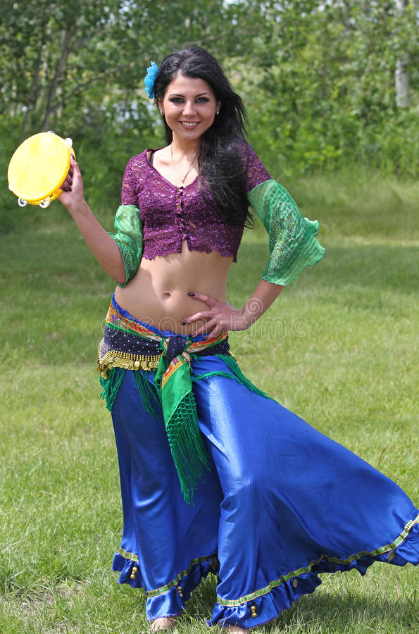 Gypsy dancer at Ivana Kupala. Gypsy dancer celebrating the mid-summer festival in Alberta, Canada stock images