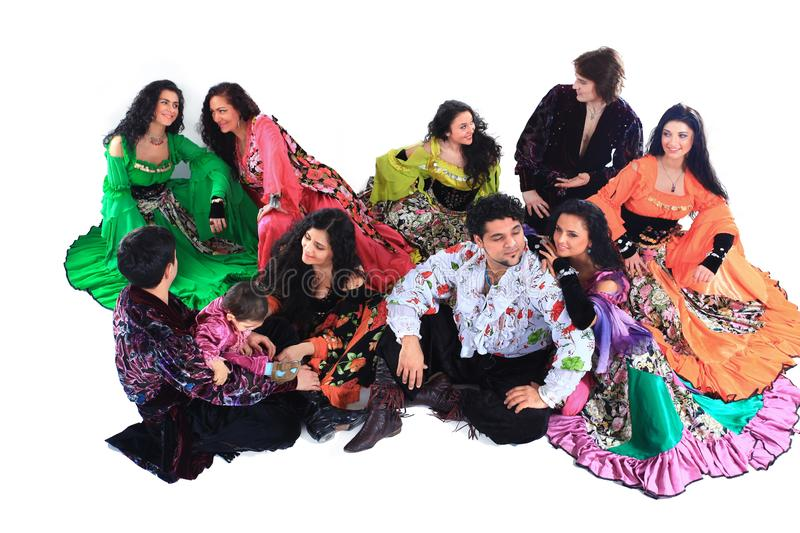 Gypsy ensemble of song and dance.isolated on a white royalty free stock photography