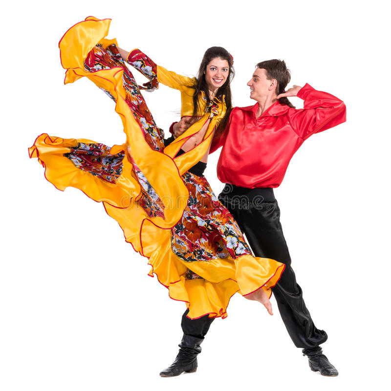 Gypsy flamenco dancer couple. Isolated on white in full length stock images