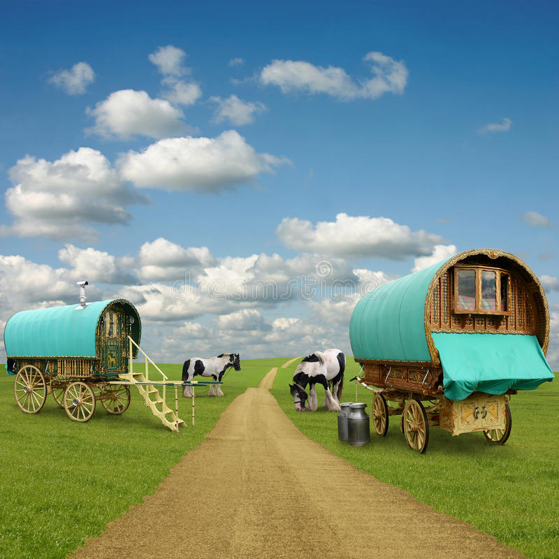 Gypsy Wagon, Caravan. Old Gypsy Caravans, Trailers, Wagons with Horses royalty free stock photo