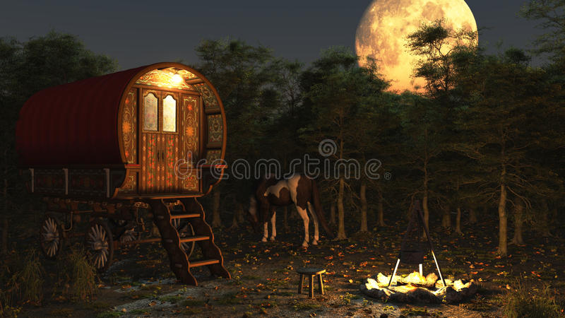 Gypsy Wagon in the Moonlight. Traditional Romany Gypsy wagon and camp with horse and campfire under a full moon, 3d digitally rendered illustration stock illustration