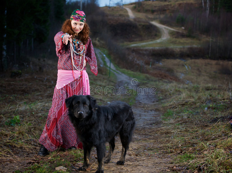 Download Gypsy Woman stock photo. Image of gypsy, stand, canine - 8664770