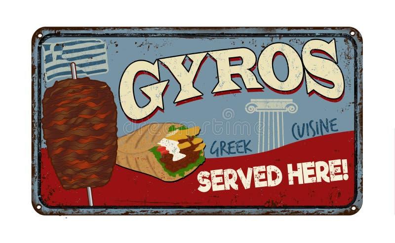 Gyros rocznika metalu ośniedziały znak royalty ilustracja