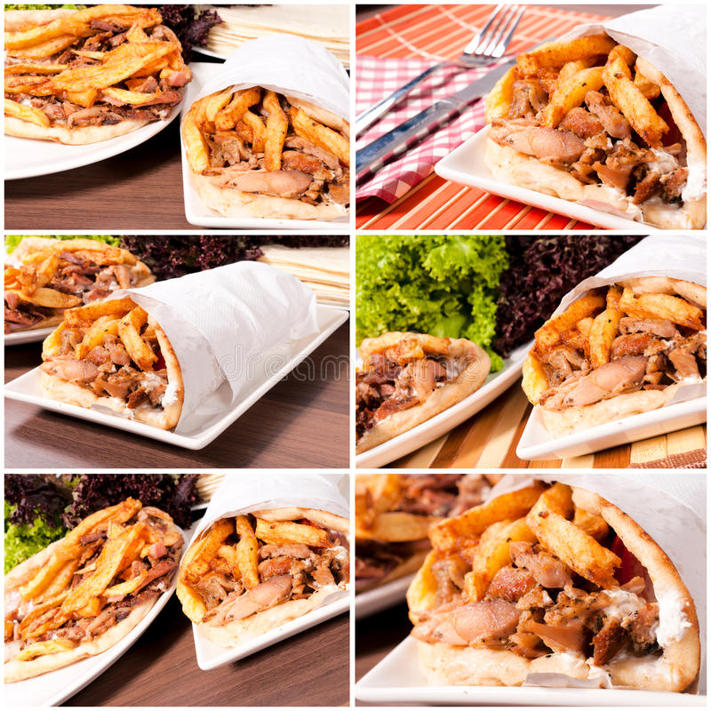 Download Gyros time stock image. Image of grilled, fries, salad - 28541447