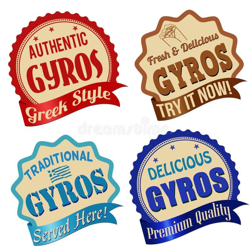 Gyroskop märker, klistermärken eller stämplar stock illustrationer