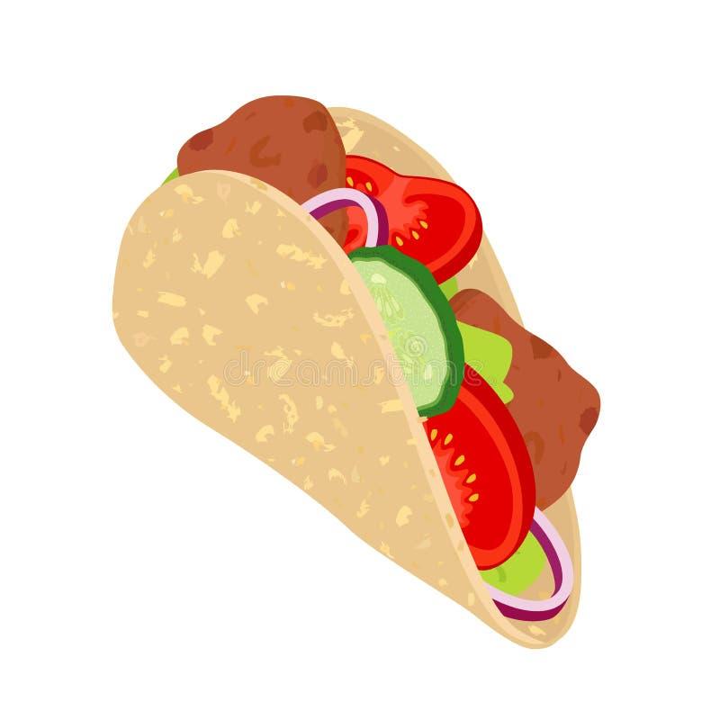 Gyroskop - traditionell Grekland mat Medelhavs- shawarma Tomat gurka, lök, kött stock illustrationer