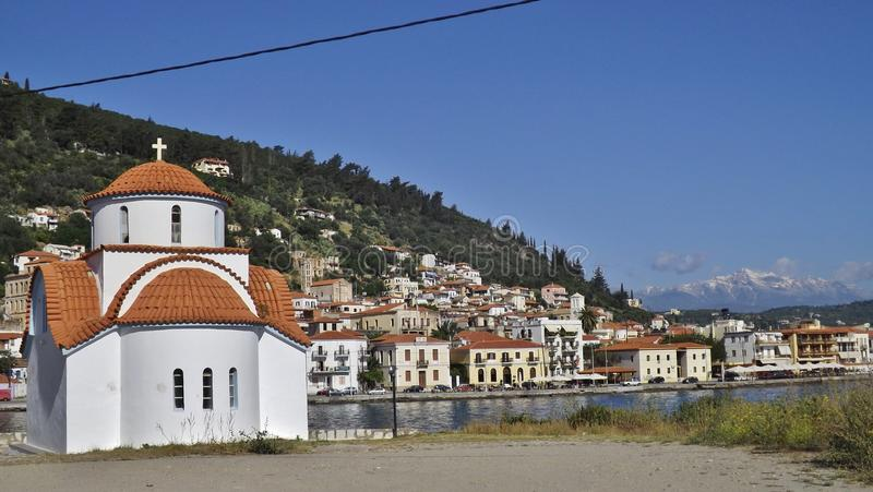 Gythion on the Peloponnese, Greece, Europe. View of a Greek Orthodox church and the town of Gythion stock images