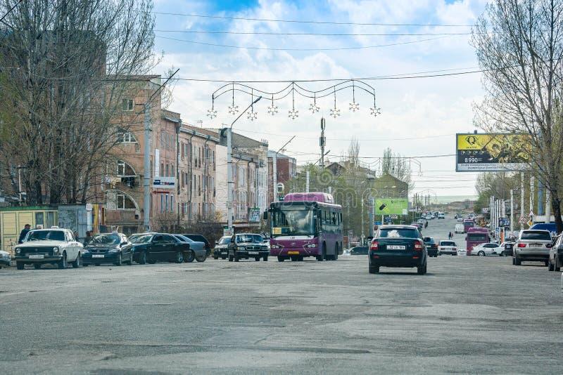 Gyumri, Armenië - Mei 9, 2017 Bezige hoofd post sovjetstraat royalty-vrije stock fotografie