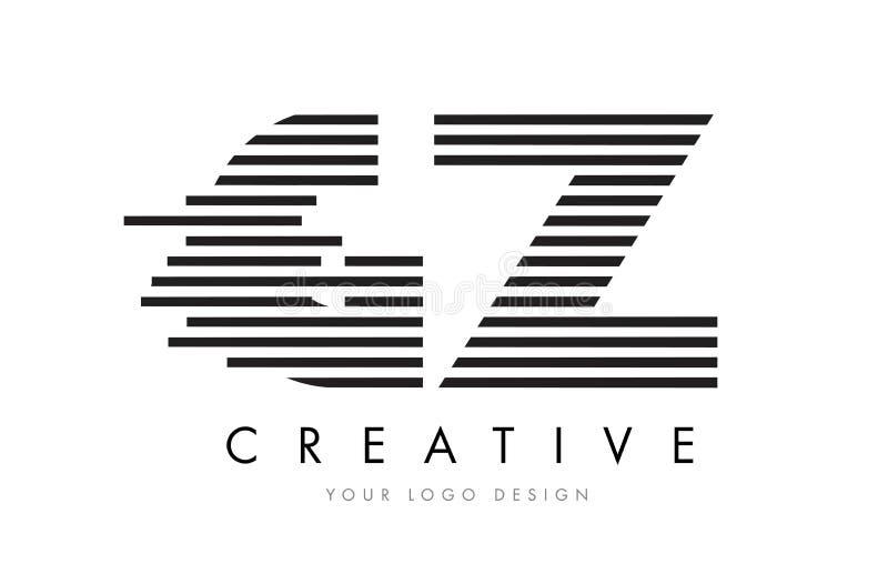 GZ G Z Zebra Letter Logo Design with Black and White Stripes stock illustration