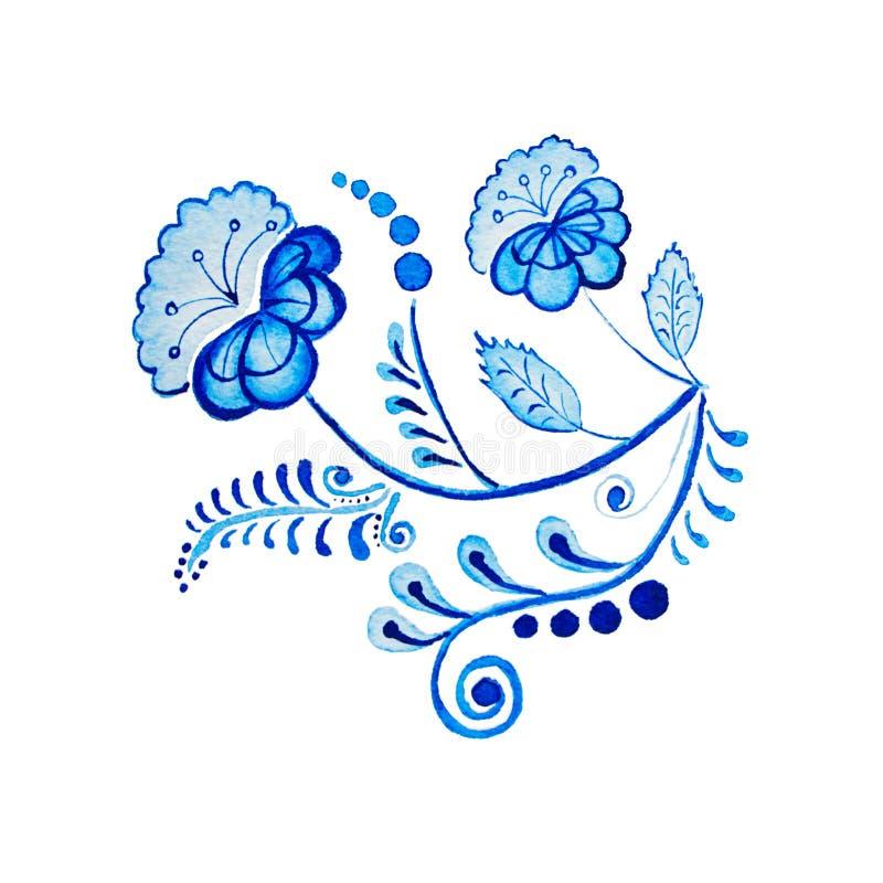 Gzhel Цветок и ветви акварели изолированные чертежом голубые Русские традиции, флористический элемент стоковое изображение