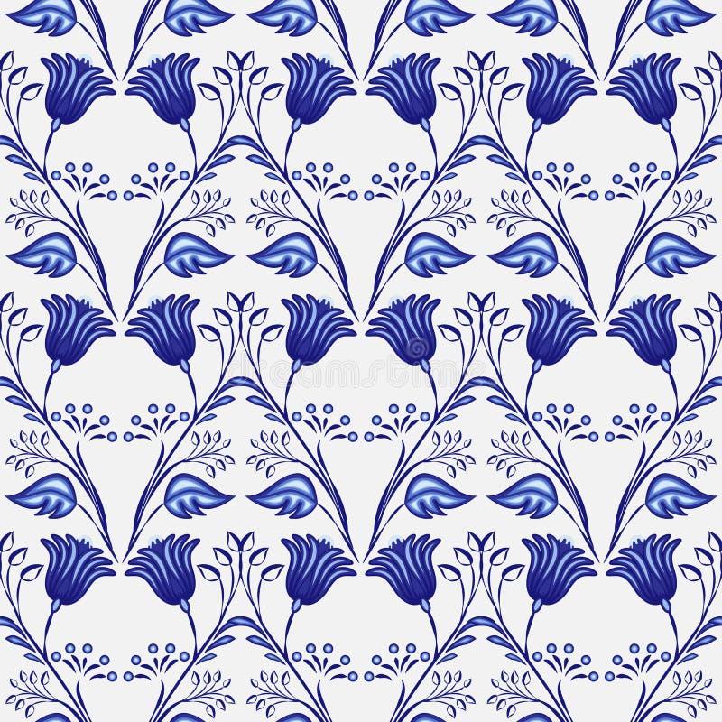Gzhel bezszwowy wzór Bezszwowy tło błękit rośliny i kwiaty Chiński lub Rosyjski porcelana obraz royalty ilustracja