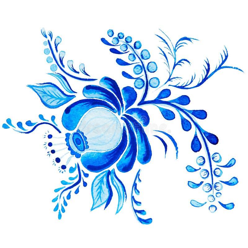 Gzhel Fleur et branches bleues d'isolement par dessin d'aquarelle Traditions russes, élément floral illustration libre de droits