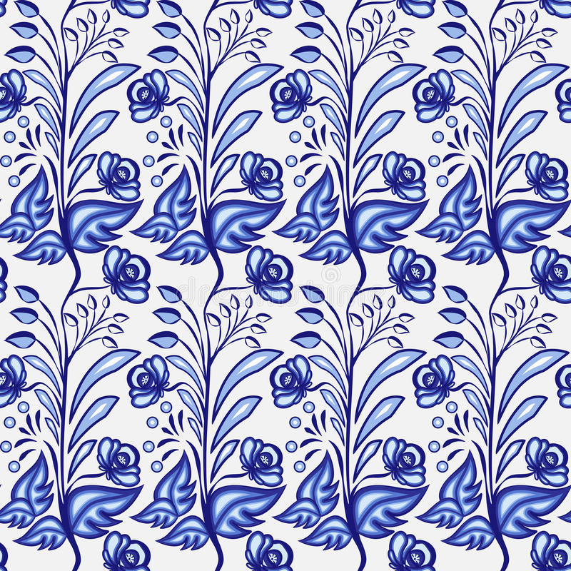 Gzhel motif background. Seamless pattern of Chinese or Russian porcelain painting with small blue flowers and leaves. royalty free illustration