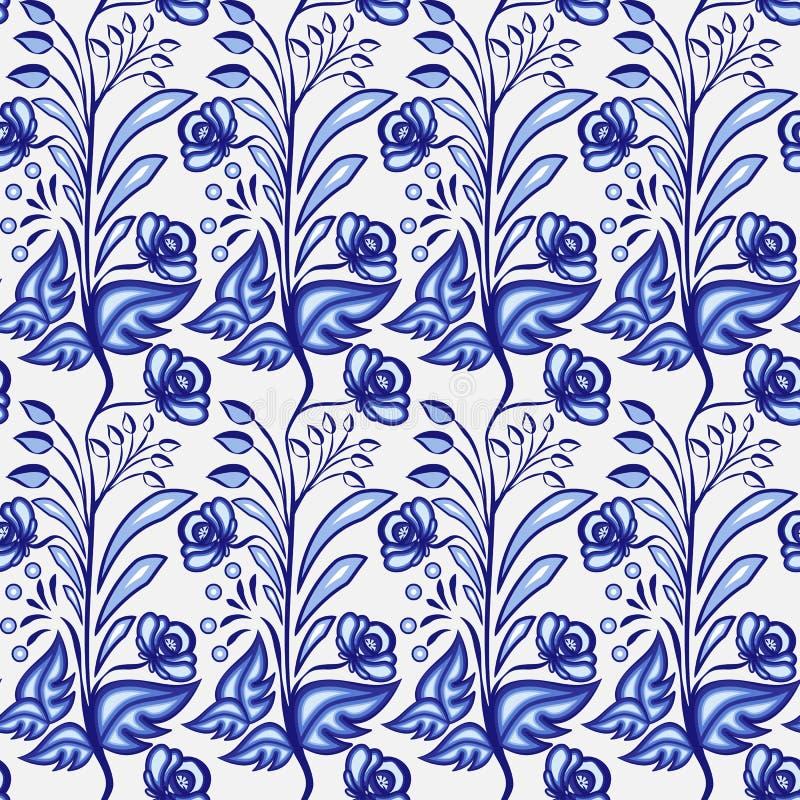 Gzhel motywu tło Bezszwowy wzór Chiński, Rosyjski porcelana obraz z lub i royalty ilustracja