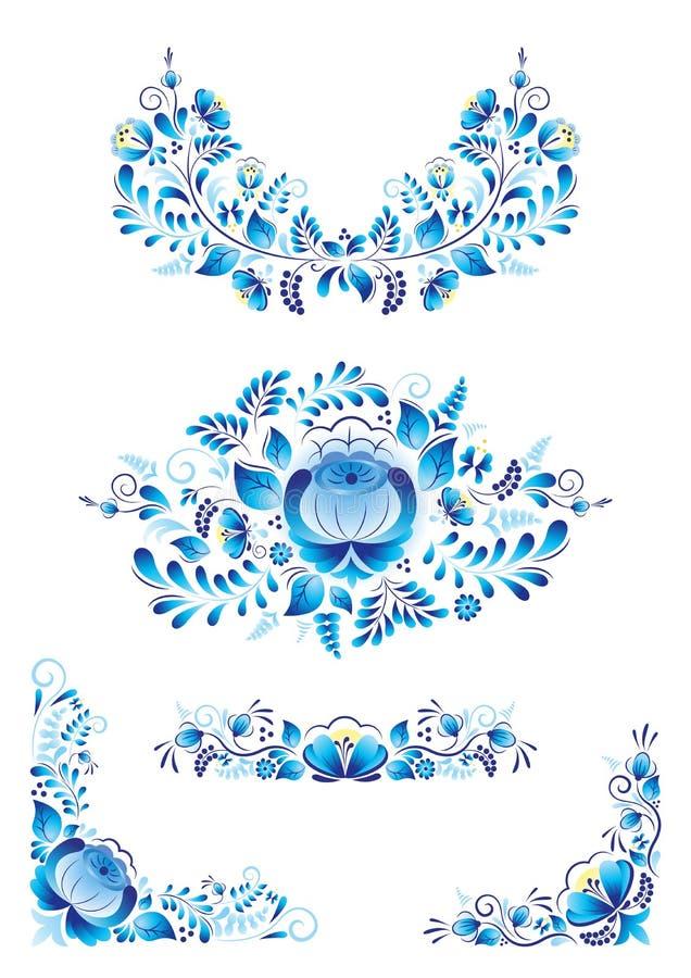 Gzhel rosjanina stylowi tradycyjni ornamenty z błękitnym kwiatem na białym tle ilustracji