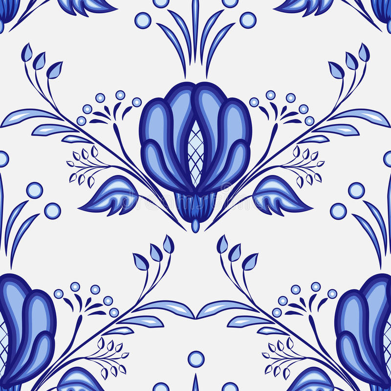 Gzhel style background. Seamless pattern of Chinese or Russian porcelain painting with large blue flowers. stock illustration