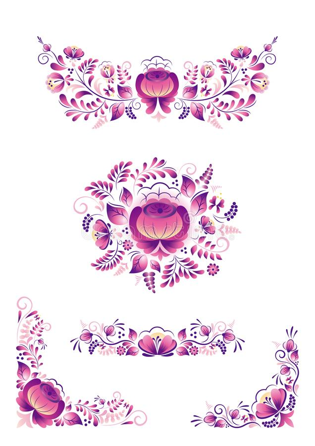 Gzhel style russian ornaments with purple flower on white background stock photography