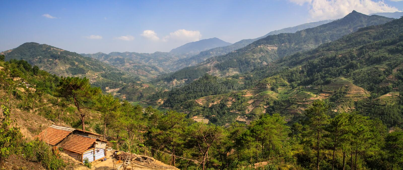 Panorama on the road to Ha giang from Lao Cai, Viet Quang, Ha Giang Province, Vietnam. Hà Giang is a province in northern Vietnam, bordering China. It`s known royalty free stock image
