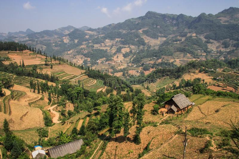 On the road to Ha giang from Lao Cai, Viet Quang, Ha Giang Province, Vietnam. Hà Giang is a province in northern Vietnam, bordering China. It`s known for its royalty free stock images