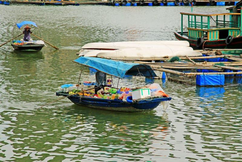 Hạ Long Bay Boat Vendors, Vietnam royalty free stock photos