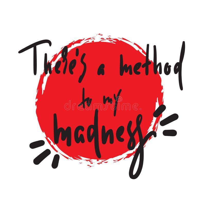 Há um método a minha loucura - inspire e citações inspiradores, calão ilustração do vetor