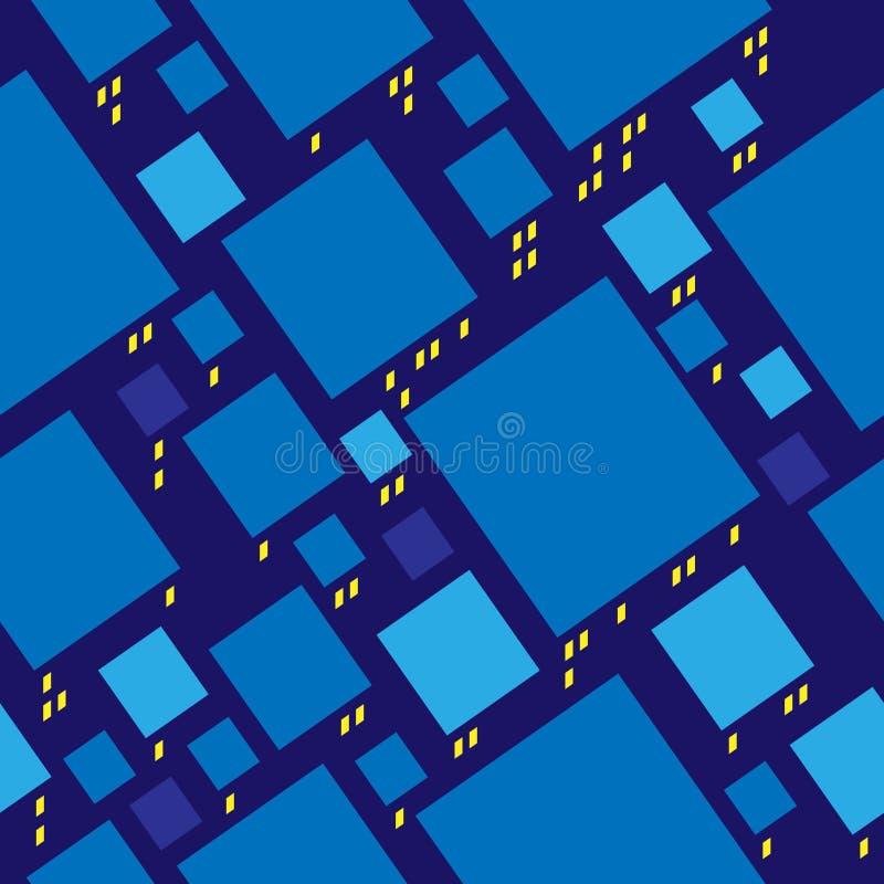 Há uma cidade na noite. Teste padrão sem emenda. ilustração stock