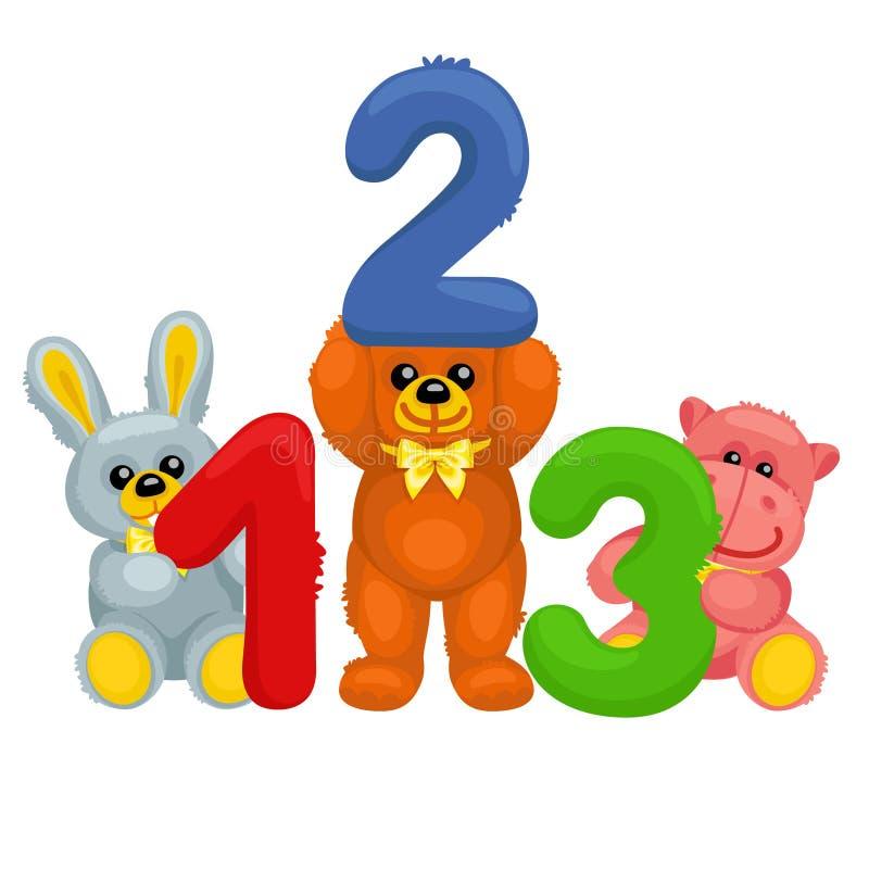 Há urso, coelho, panda e hipopótamo do luxuoso guardando números ilustração stock
