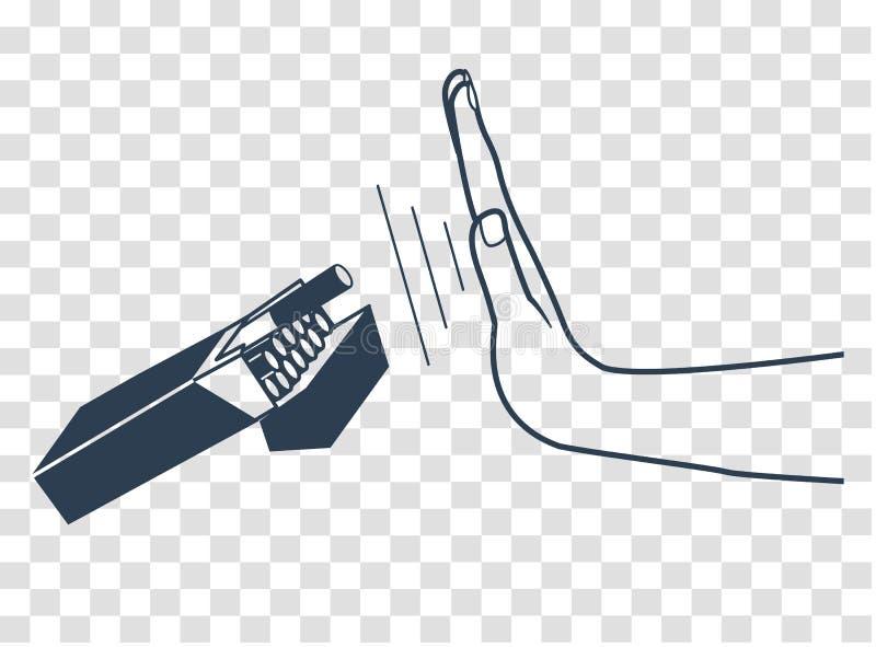 Hábito da silhueta do fumo ilustração stock