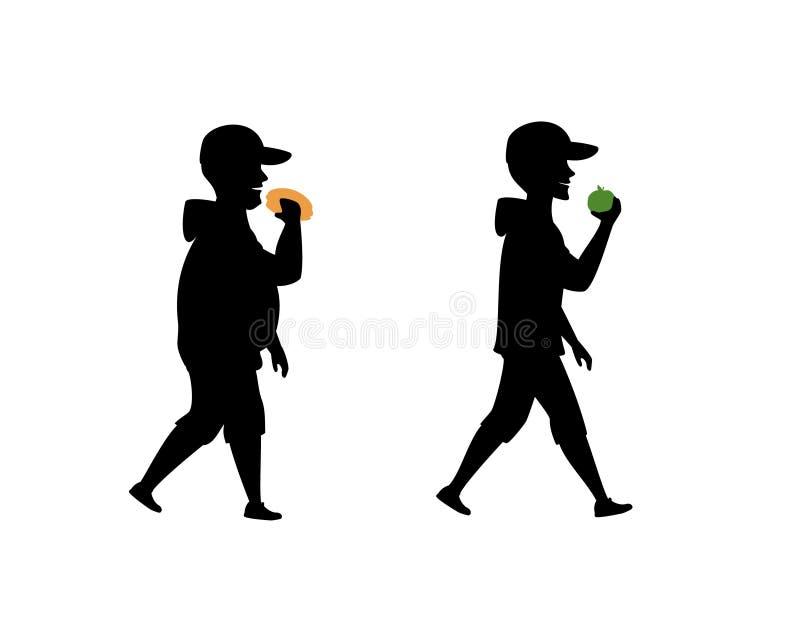 Hábitos comendo saudáveis e insalubres, antes e depois da silhueta masculina ilustração do vetor