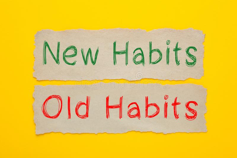 Hábitos novos e hábitos velhos fotos de stock