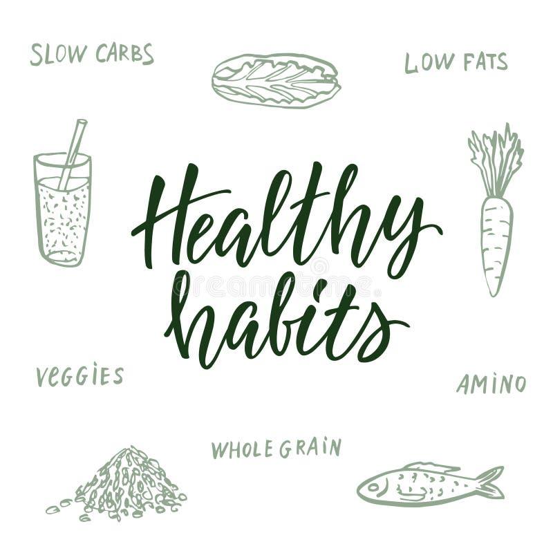 Hábitos saudáveis! Citações e fundo caligráficos sobre comer saudável ilustração do vetor