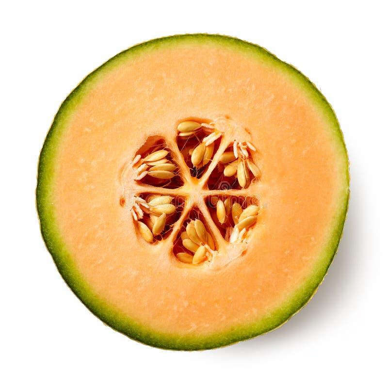 Hälfte der Melone lokalisiert auf weißem Hintergrund lizenzfreie stockfotografie