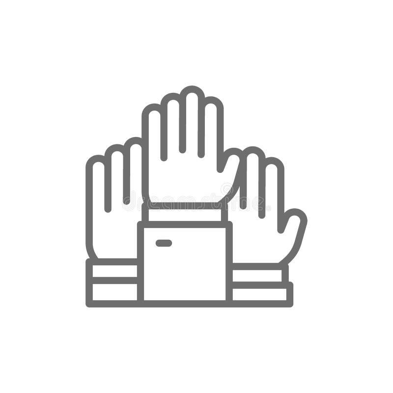 Hände hoben oben, Wahl an und wählten, freiwillige Linie Ikone lizenzfreie abbildung