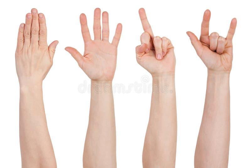 Hände mit verschiedenen Gesten stockbilder