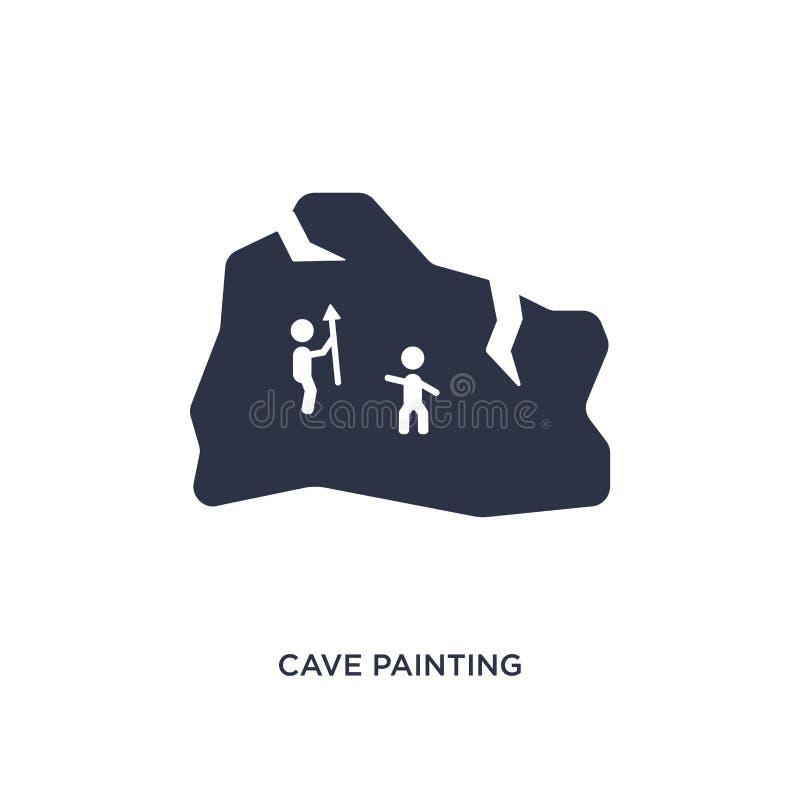Höhlenmalereiikone auf weißem Hintergrund Einfache Elementillustration vom Steinzeitalterkonzept vektor abbildung